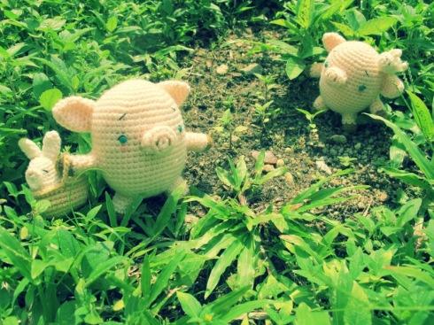 amigurumei crochet bunny piglet teacup french