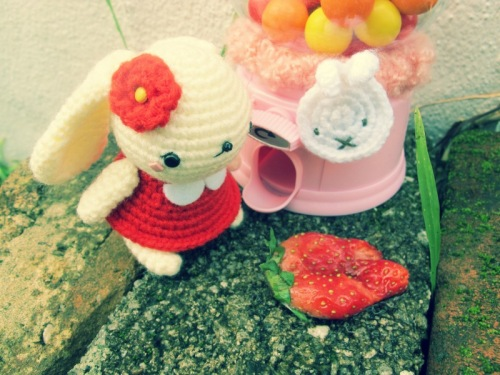 red bunny amigurumei crochet strawberry miffy