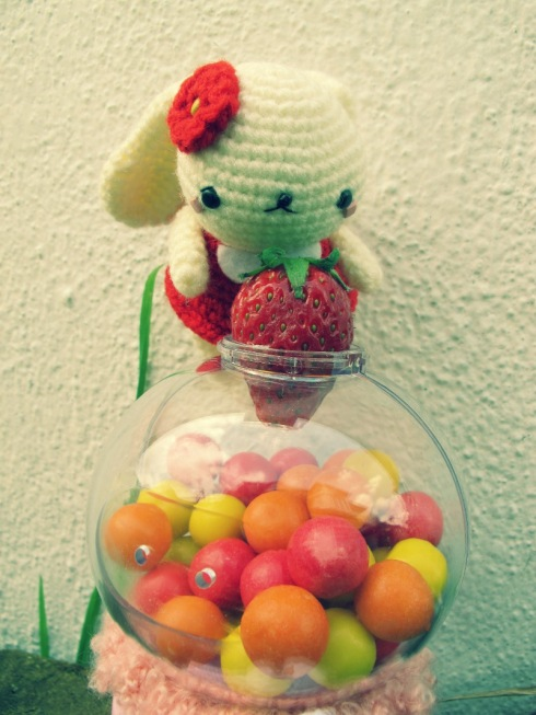 red bunny amigurumei crochet strawberry