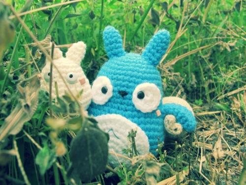 blue white crochet amigurumei ghibli