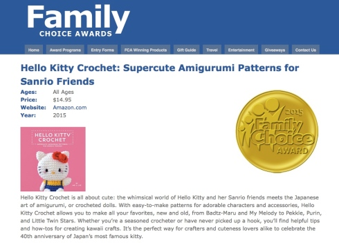 hello kitty crochet wins the 2015 Family Choice Award