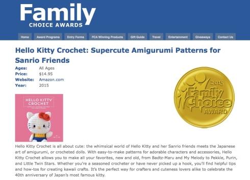 hello kitty crochet wins the 2015 Family Choice Award